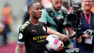 Sterling with the match ball