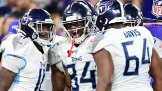 Tennessee Titans wide receiver Corey Davis celebrates after scoring a touchdown