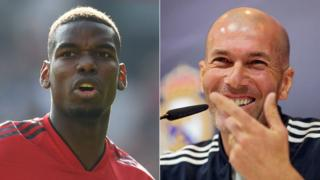 Man Utd midfielder Paul Pogba (left) and Real Madrid manager Zinedine Zidane