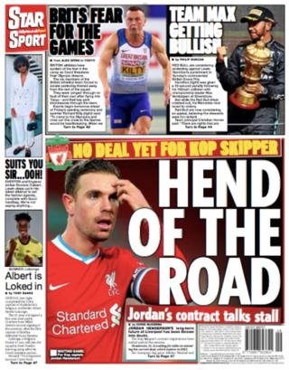 Daily Star back page - 'Hend of the road'
