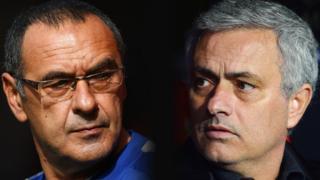 Former Chelsea managers Maurizio Sarri and Jose Mourinho