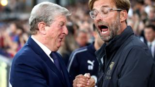 Roy Hodgson and Jurgen Klopp greet on the touchline ahead of the reverse fixture in August