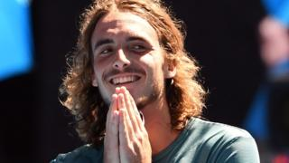 Stefanos Tsitsipas celebrates beating Roberto Bautista Agut to reach the Australian Open semi-finals