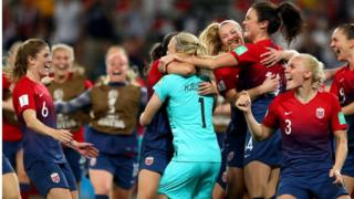 Norway's players celebrate beating Australia at the Women's World Cup