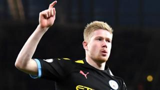Kevin de Bruyne celebrates scoring for Manchester City