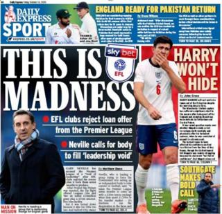 Friday's Express back page with the headline 'This is Madness' and a picture of Gary Neville