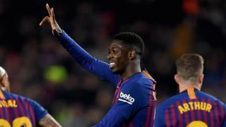 Ousname Dembele celebrates a goal for Barcelona