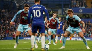 Eden Hazard is watched intently by Burnley players