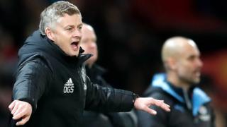 Manchester United manager issues instructions to his players from the touchline during their EFL Cup final semi-final first-leg defeat by Manchester City