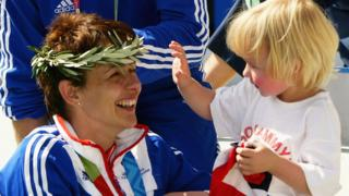 Tanni Grey-Thompson and her daughter Carys