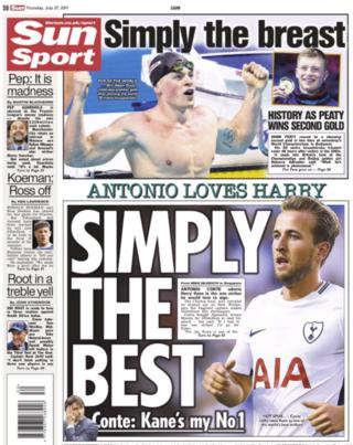 The Sun back page on Thursday