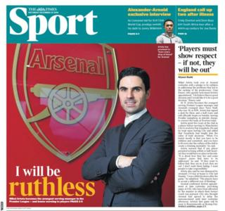 Saturday's Times back page: 'I will be ruthless'