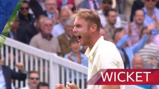 Broad strikes as Wade edges to Burns at slip for six