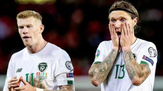 James McClean and Jeff Hendrick show their disappointment after the Republic of Ireland's defeat