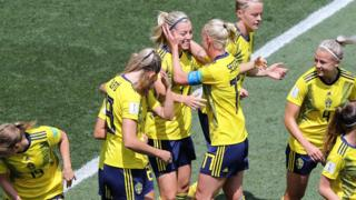 Linda Sembrant in action for Sweden