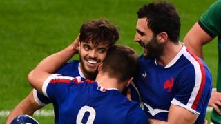 France's fly-half Romain Ntamack celebrates