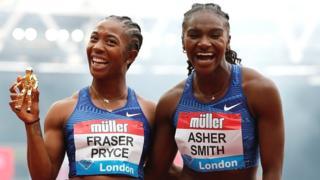 Shelly-Ann Fraser-Pryce and Dina Asher-Smith
