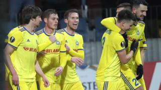 Bate Borisov celebrate scoring against Arsenal