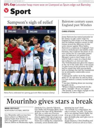 The Independent features England women's 6-0 win over Russia