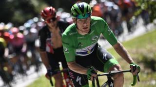 Ireland's Sam Bennett wearing the green jersey on stage 18
