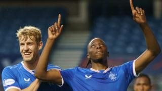 Rangers' Filip Helander and Joe Aribo celebrate