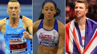 A split picture of Laura Muir, Richard Kilty, Katarina Johnson-Thompson and Andrew Pozzi