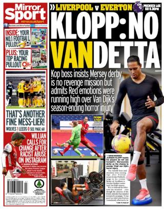Saturday's back pages: Mirror - 'Klopp: No Vandetta'