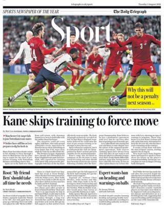 Tuesday's Daily Telegraph