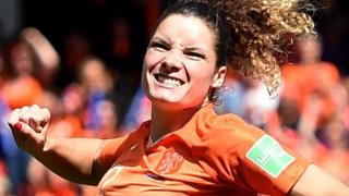 Arsenal midfielder Dominique Bloodworth celebrates her goal for the Netherlands against Cameroon