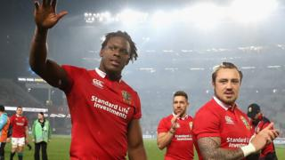 Maro Itoje and Jack Nowell after a Lions match