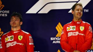 Sebastian Vettel and Charles Leclerc on the podium after the Singapore Grand Prix