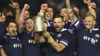 Scotland captain John Barclay lifts the Calcutta Cup in 2018