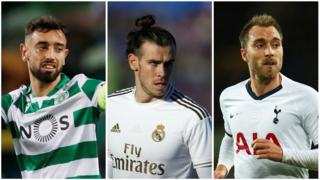 Bruno Fernandes, Gareth Bale and Christian Eriksen