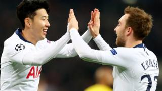 Tottenham's Son Heung-min and Christian Eriksen