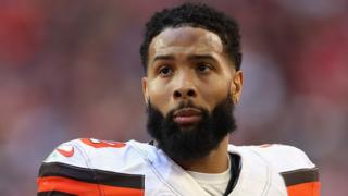 Cleveland Browns wide receiver Odell Beckham Jr looks on during an NFL game