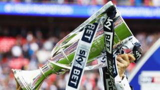 League One playoff trophy