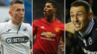 Swansea City's Bersant Celina, Manchester United's Marcus Rashford and Millwall's Murray Wallace