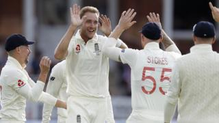 Stuart Broad celebrates an Australia wicket in the Lord's Test