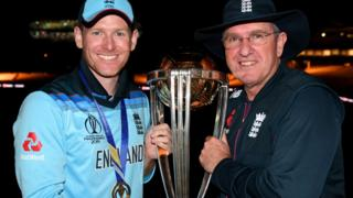 England captain Eoin Morgan with Trevor Bayliss