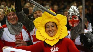 England and Wales fans at a Six Nations match in Cardiff
