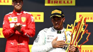 Sebastian Vettel and Lewis Hamilton on the podium after the Canadian Grand Prix