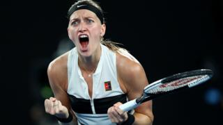Petra Kvitova celebrates winning the first set against Danielle Collins