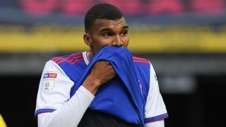 Dejected Ipswich player