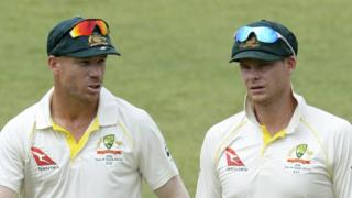David Warner and Steve Smith during an Australia Test match in 2018