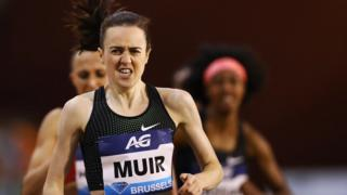 Laura Muir works hard as she competes at the Brussels Diamond League meeting