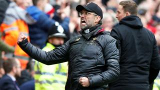 Jurgen Kllopp reacts to Liverpool equaliser