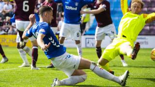 Rangers' Nikola Katic scores against Hearts