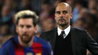 Pep Guardiola (right), Lionel Messi (left)