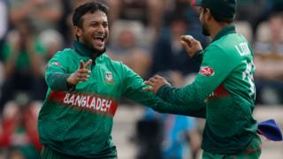 Bangladesh's Shakib Al Hasan celebrates taking a wicket against Afghanistan