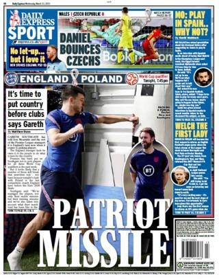 The Daily Express' back page on Wednesday